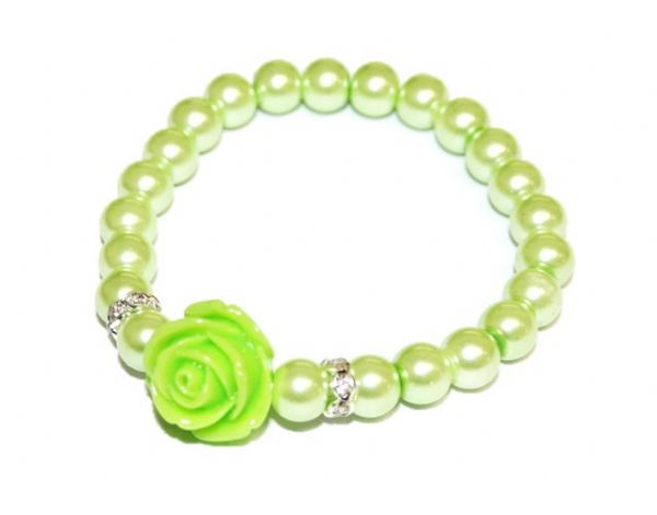 Rose 8mm glass pearl bracelet 14pcs (£0.70 each)